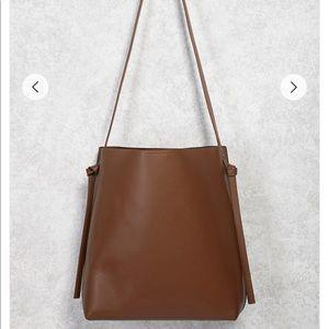 Faux Leather Shoulder Tote Bag
